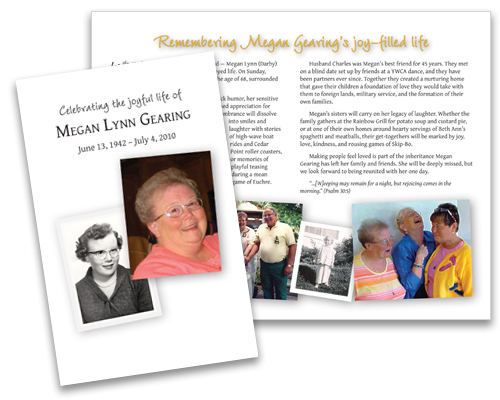 memorial folders for funerals